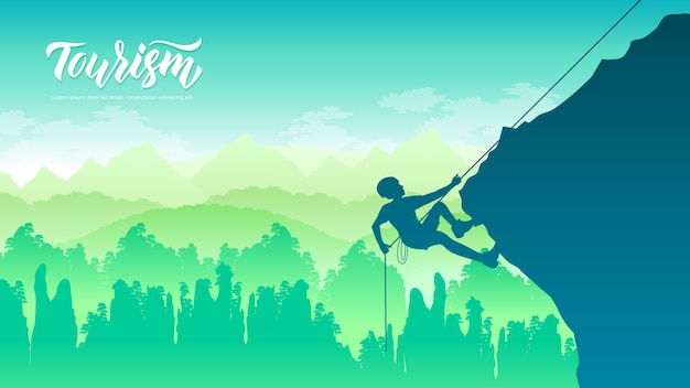 Ein mann klettert auf einen felsen, einen berg bei sonnenuntergang