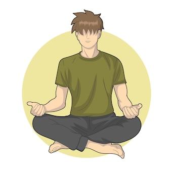 Ein mann konzentriert sich in meditation