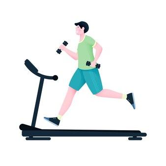 Ein mann läuft auf einem laufband und hält hanteln zum training.