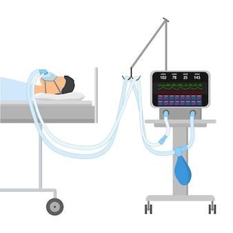 Ein mann liegt mit schlafapnoe und cpap auf dem bett. auf dem gesicht sauerstoffmaske mit zwei schläuchen, die mit einem gerät zur künstlichen beatmung der lunge verbunden sind. isolierter vektor eps10.