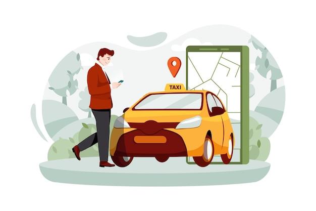 Ein mann mit einem smartphone, der nahe dem auto steht