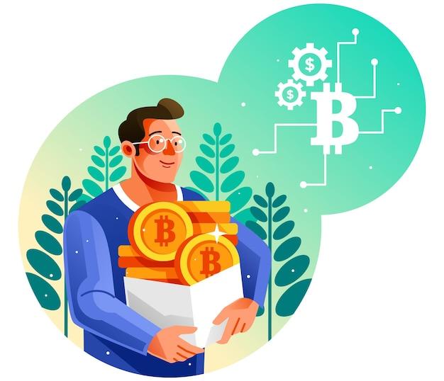 Ein mann mit einer schachtel bitcoin-münzen