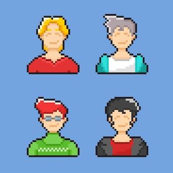 Ein mann mit halben körpern im pixel-art-stil
