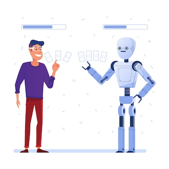 Ein mann mit vr-brille spielt ein kartenspiel in augmented reality mit einem roboter.