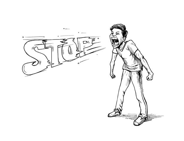 Ein mann sagt halt. hand zeichnen skizze design illustration design