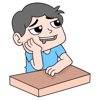 Ein mann saß da und träumte, sein mund sabberte, vektorgrafiken. doodle symbolbild kawaii.