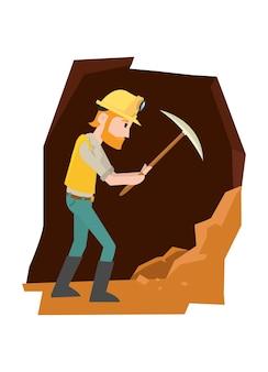 Ein mann schlug auf den felsen, um gold zu holen