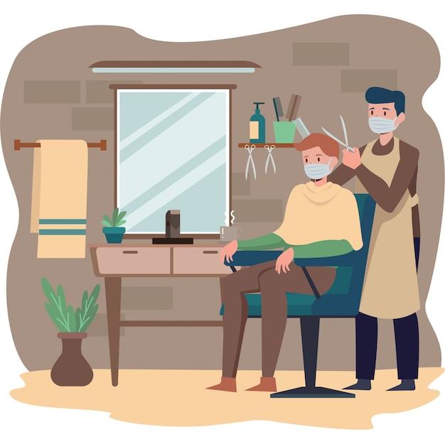 Ein mann schneidet sich im friseurladen die haare, während er weiterhin eine medizinische maske benutzt