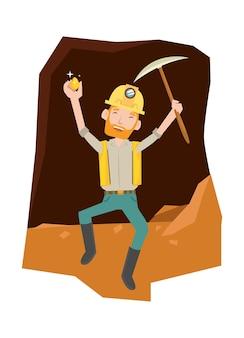 Ein mann sieht glücklich aus, nachdem er das gold in der höhle bekommen hat