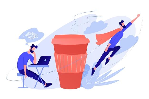 Ein mann sitzt müde am schreibtisch und ein anderer fliegt voller energie nach einer tasse kaffee