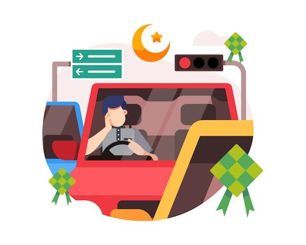 Ein mann steckt im verkehr auf einer autobahn aufgrund des dichten flusses der heimkehr während der eid