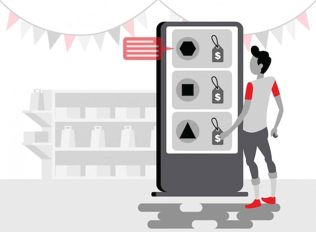 Ein mann steht vor dem kiosk-bildschirm, um ein produkt für den kauf einer flachen illustration auszuwählen