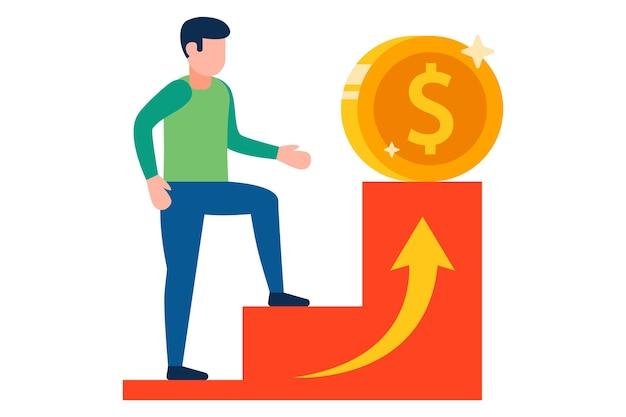 Ein mann steigt die karriereleiter hinauf, um profitableres geld zu verdienen. eben