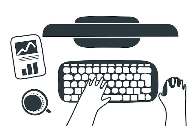 Ein mann tippt auf einer laptop-tastatur auf einem modernen weißen schreibtisch