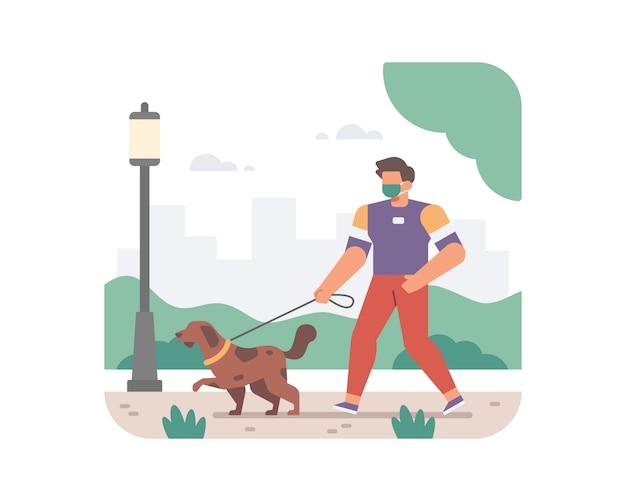 Ein mann trägt eine gesichtsmaske und nimmt seinen hund für einen spaziergang in der stadtparkillustration