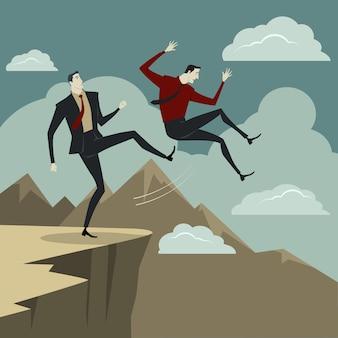 Ein mann tritt seinen gegner von der klippe.