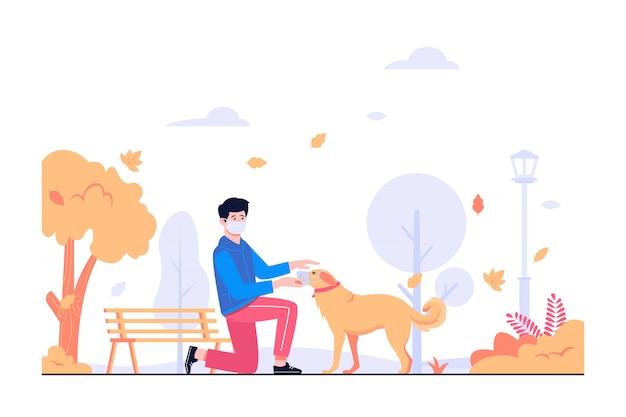 Ein mann und ein hund, die eine maske in der parkkonzeptillustration tragen