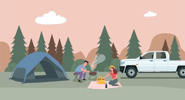 Ein mann und eine frau entspannen sich in der natur in einem zeltlager. flache artillustration.