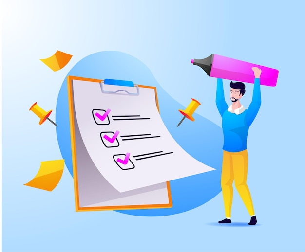 Ein mann vollständige checkliste auf zwischenablage und papierkram