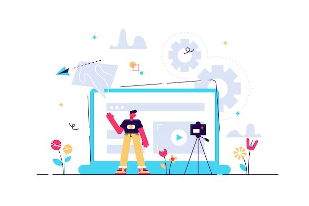Ein mann vor der kamera, der ein video aufzeichnet, um es im internet zu teilen. vloger teilt einen bradcast im blog oder im videoprotokoll. video-blogging, web-fernsehen oder embedded-video-konzept. violette palette. vektor.