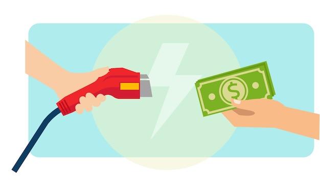 Ein mann zahlt bargeld für das aufladen von elektroautos