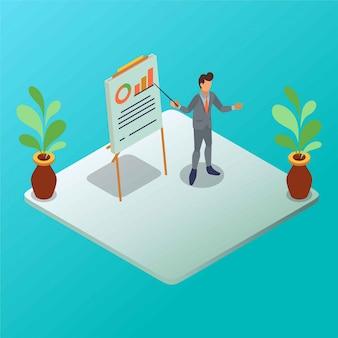 Ein marketing-team präsentiert ein diagramm mit einer präsentationstafel und einer isometrischen illustration mit zeigerstab