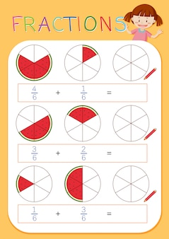 Ein mathematisches fraktionsarbeitsblatt