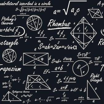 Ein mathematisches nahtloses muster mit geometrischen formen und formeln
