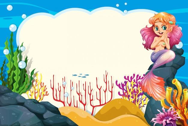 Ein meerjungfrau-unterwasserrahmen