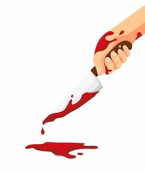 Ein messer mit blut in der hand. blutstropfen fließen auf den boden. konzept des verbrechens, des mordes oder des mörders vom messerlagerillustrationskarikatur lokalisiert im weißen hintergrund