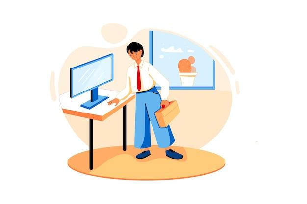 Ein mitarbeiter hält eine aktentasche neben dem computerbildschirm