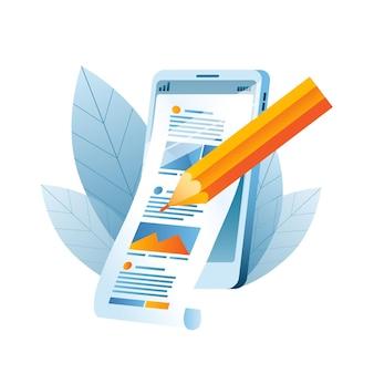 Ein mobiltelefon mit einem newsfeed und einem stift, der den inhalt bearbeitet