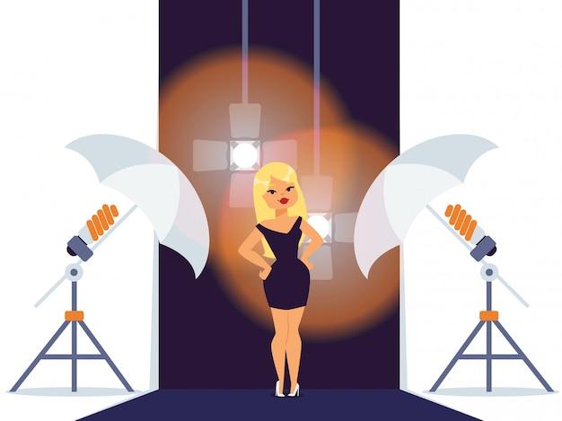 Ein modell in einem fotostudio einrichten der fotoausrüstung für professionelle aufnahmesitzungen