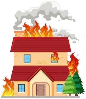 Ein modernes haus in brand