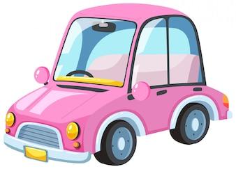 Ein modernes rosa Auto auf weißem Hintergrund