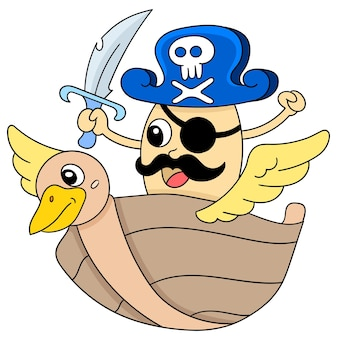 Ein monster-pirat auf einem schiff oder boot, charakter süß doodle zeichnen. vektor-illustration