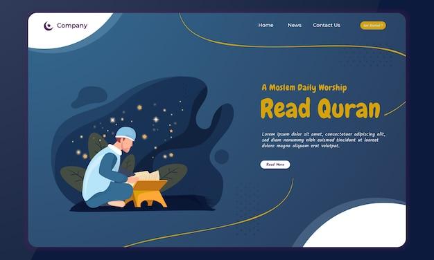 Ein moslem las das konzept des heiligen quran für ramadan auf der landing page