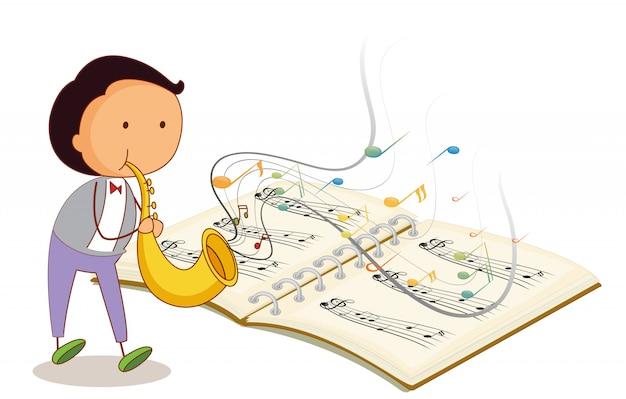 Ein musiker, der eine trompete mit einem musikalischen notizbuch hält