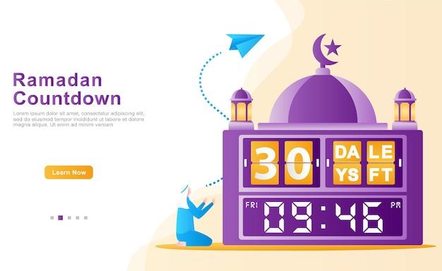Ein muslimischer mann berechnet die zeit seiner ankunft im ramadan, indem er betet und geduldig ist