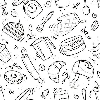 Ein muster von back- und kochwerkzeugen, ein mixer, ein kuchen, ein löffel, ein cupcake, eine waage. vektorillustration im doodle-stil. eine handgezeichnete skizze auf weißem hintergrund.