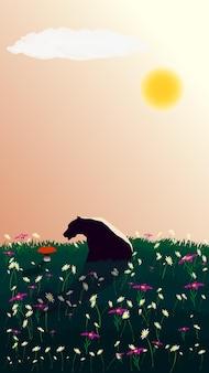 Ein nachdenklicher bär sitzt auf dem rasen und betrachtet einen wachsenden roten pilz. betrachtung des schönen. auf der wiese stehen viele blumen. die sonne scheint am himmel. vertikale vektorillustration.