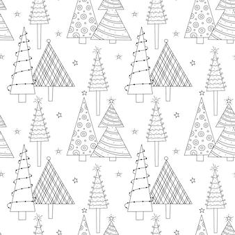 Ein nahtloses neujahrsmuster von stilisierten geschmückten weihnachtsbäumen