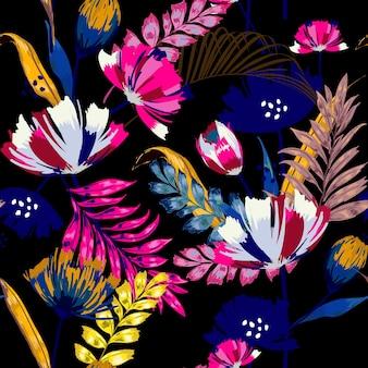 Ein nahtloses tropisches muster des dunklen sommernachtvektors