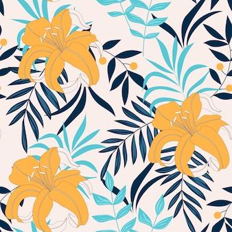 Ein neigendes abstraktes nahtloses muster mit tropischen blättern
