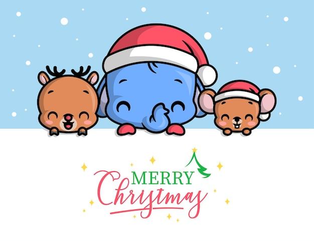 Ein netter elefant mit einer kleinen maus und ein rentier grüssen frohe weihnachten
