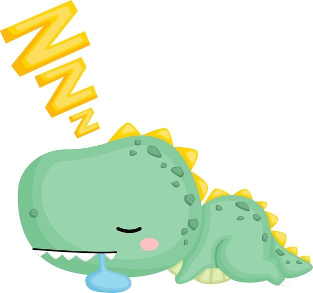 Ein niedlicher baby-dinosaurier, der schläft und sabbert