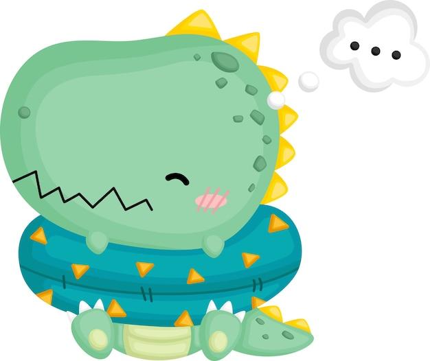 Ein niedlicher baby-dinosaurier mit dem nachdenken über sachen