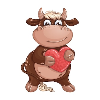 Ein niedlicher brauner junge stier mit blonden haaren, die ein rotes herz halten. valentinstag.