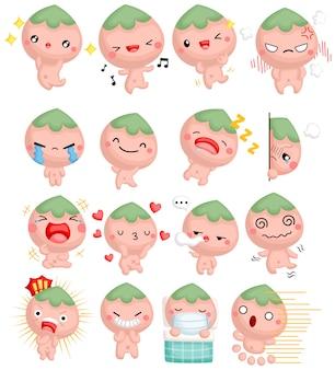 Ein niedlicher cartoon-pfirsichjunge mit vielen emotionen