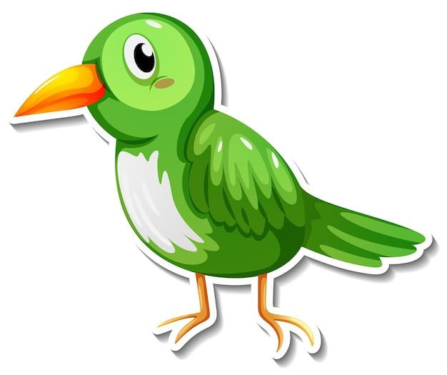 Ein niedlicher grüner vogelkarikatur-tieraufkleber